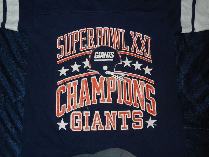 RARE Vintage Super Bowl XXI (21) GIANTS V Neck Shirt (men's M)