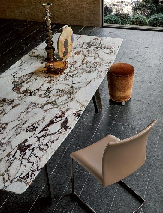 Extending rectangular #marble #table FONTANA - Draenert