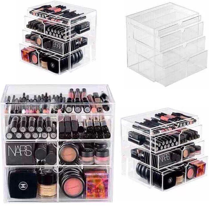 New Anti Scratch Clear Acrylic Cosmetic Jewelry Makeup Organizer Box Case 4…