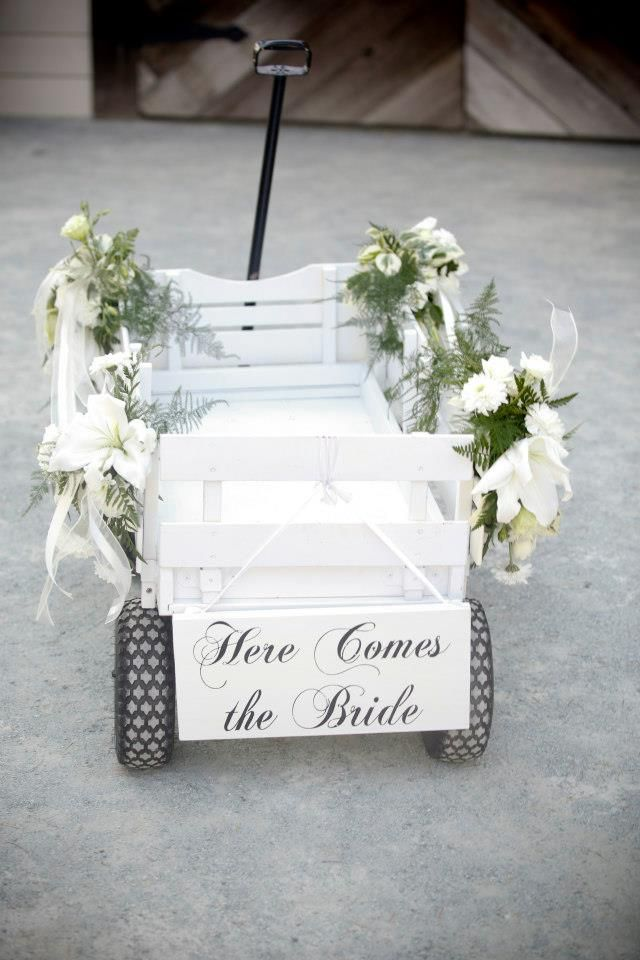 """Older flower girls pull a wagon that holds the baby flower girl with sign """"Here comes the bride""""//"""