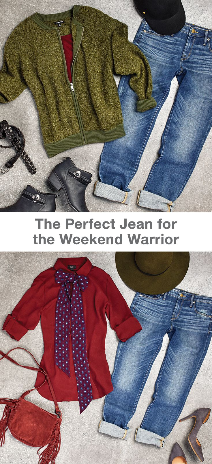 While it might be a cozy weekend staple, the boyfriend jean is actually one of the most versatile denim cuts. Pair it with a zip up sweater to run weekend morning errands, and make your jeans tomboy chic for brunch with pointed toe heels and a super feminine blouse. And don't worry about hat head -- you can trade your baseball cap for a wide brim hat for a Sunday look you can throw on and go, wherever your destination.