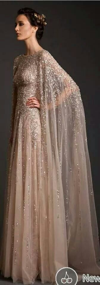 Beaded Dress with Matching Cape