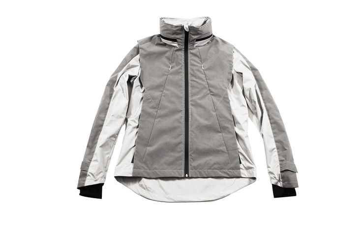 RA Reflective bike jacket - glows at night because dark grey fabric is completely reflective