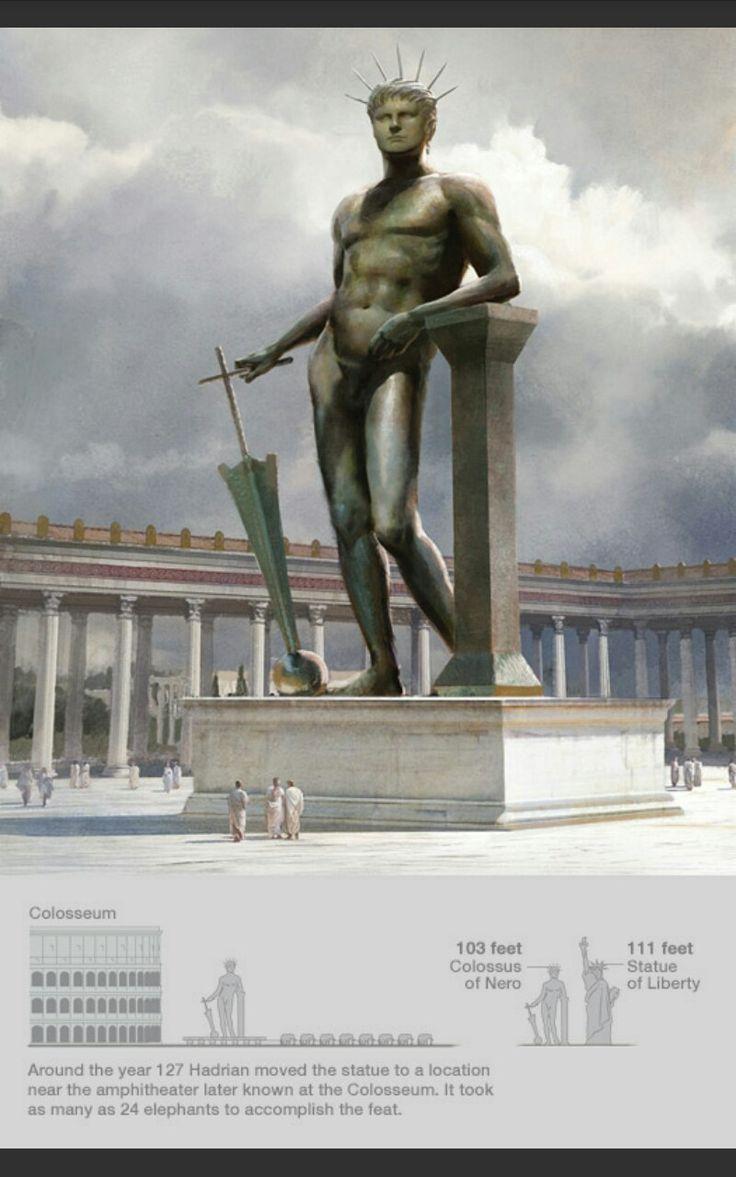 Colosso di Nerone in bronzo. Questa statua imponente faceva inizialmente parte dei giardini della Domus Aurea di Nerone, ma dopo la sua distruzione la statua divenne il simbolo da cui prese il nome l'Anfiteatro Flavio, o appunto conosciuto come Colosseo.