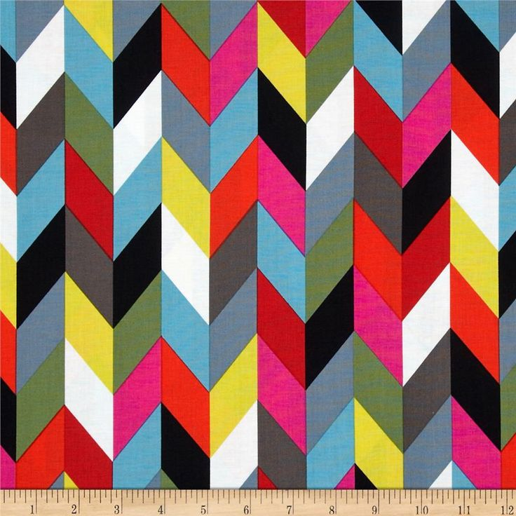 """Ziggy Chevron Multi.  Designed by French Bull for Windham Fabrics, this 44"""" cotton print is perfect for quilting, apparel, crafts, and home décor items. Colors include white, grey, black, orange, pink, red, yellow, green, and blue. $9.20/yard"""
