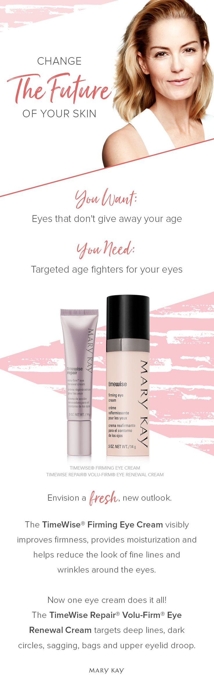 Targeted age-fighters for your eyes! Rich in botanical extracts and brightening agents, TimeWise® Firming Eye Cream minimizes the appearance of fine lines and wrinkles. | Mary Kay