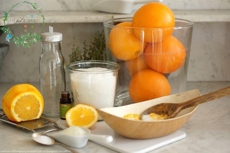 """Inspiriert von der Farbe Orange habe ich heute für Dich - für mich - für uns :) ein köstliches Rezept für Körper & Seele entwickelt, welches Deine Haut erstrahlen lassen wird: Kräuter-Badesalz mit Orangenschale. """"Entspannung für Körper & Sinne"""" in Form von Bio-Badesalz."""