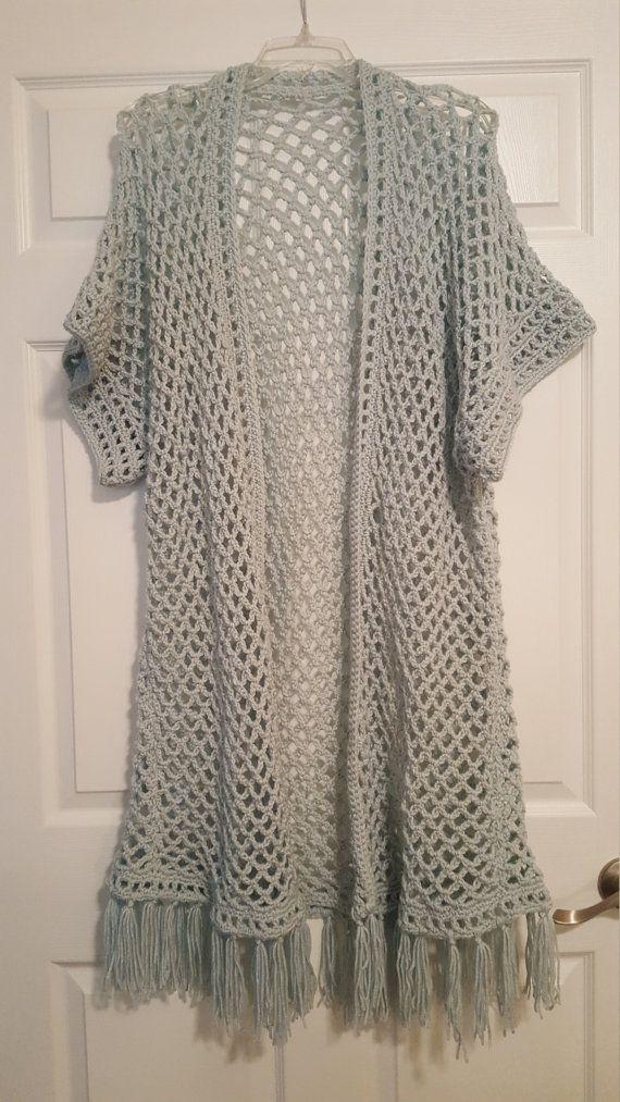 Aqua Crochet Kimono Sweater on Etsy | Crochet The Day Away ...