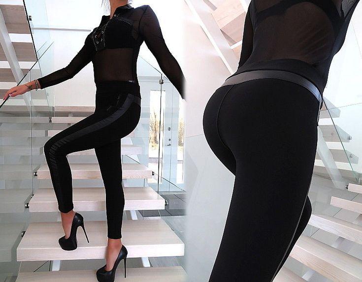 HOSE SCHWARZ LEDER Optik Neu Stretch Damen Leggings T29 Leather Look Pants XS/S
