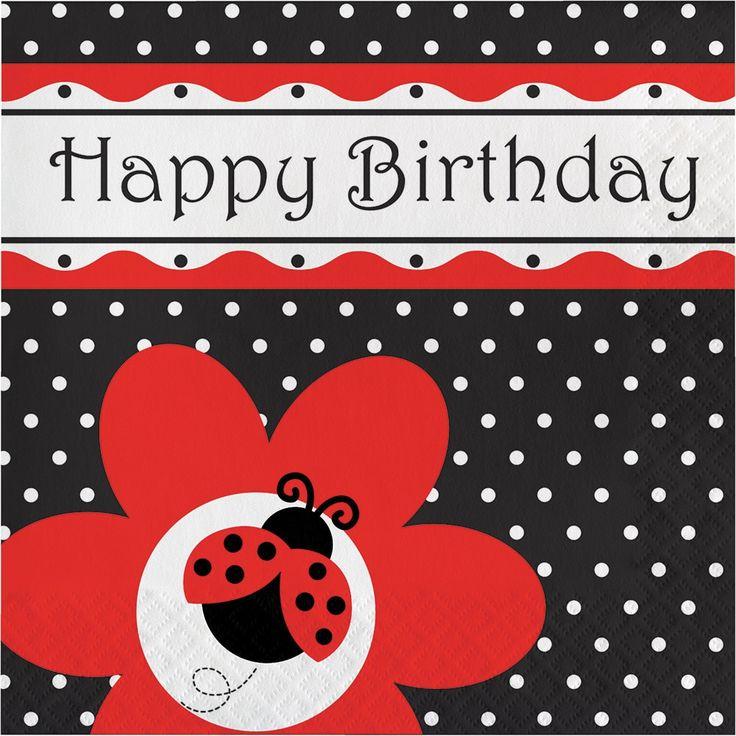 Creative Ladybug Fancy Happy Birthday Lunch Napkins, Case of 12 pkgs of 16