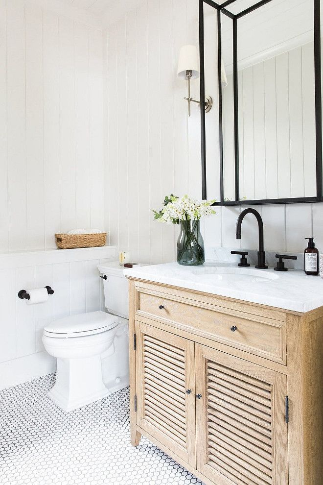 Neutral Farmhouse Bathroom With Vertical Shiplap Hex