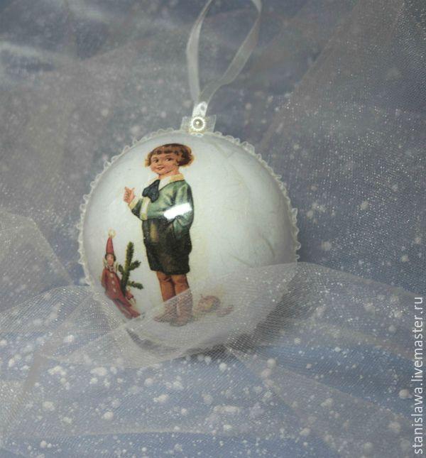 Купить Новогодний шар - комбинированный, Новый Год, новогодний подарок, новогодний декор, новогоднее украшение