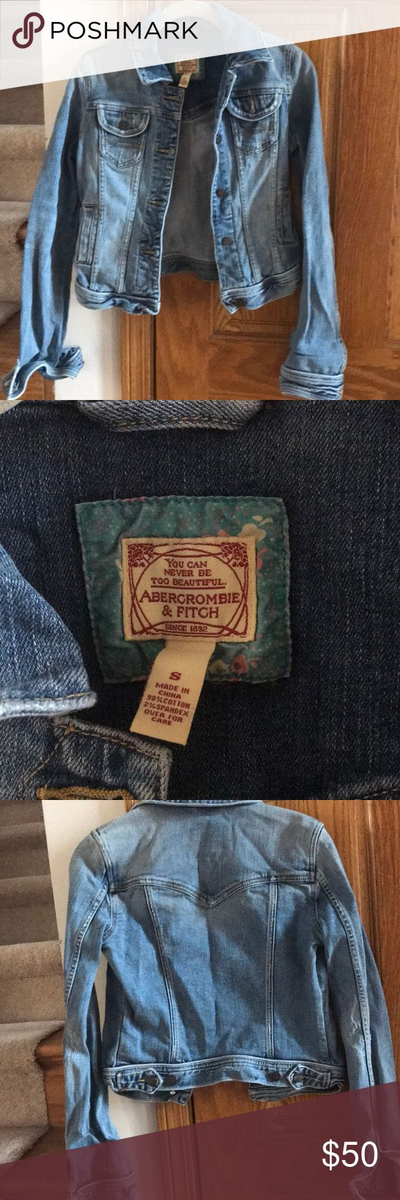 Abercrombie and Fitch Jean Jacket Abercrombie and Fitch light colored denim jacket size small, looks adorable with sleeves rolled up, 4 pockets, no missing buttons, designed with minor distressed details. Abercrombie & Fitch Jackets & Coats Jean Jackets