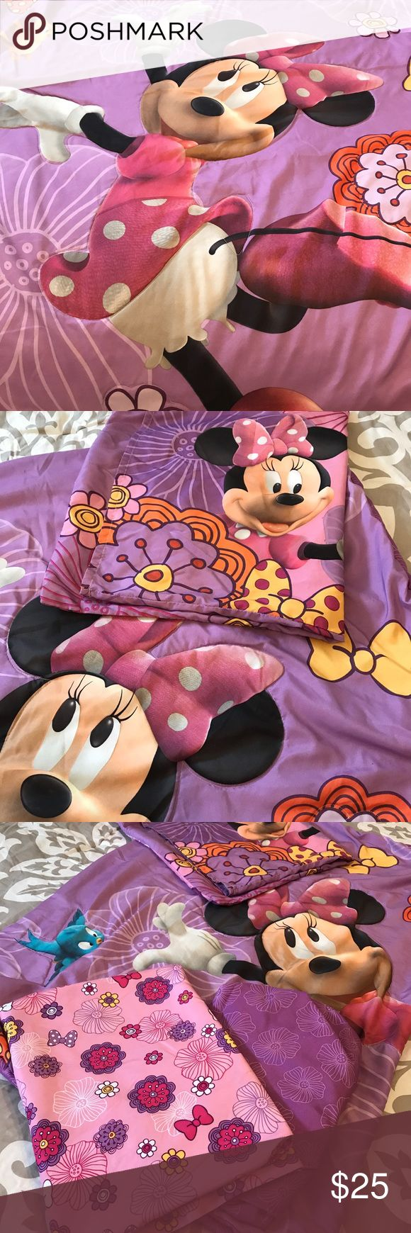 Toddler girl bedding set, Minnie Mouse 4 piece toddler girl bedding set. Includes: comforter, fitted sheet, top sheet, and pillow case. Fits standard toddler bed/crib mattress. Other