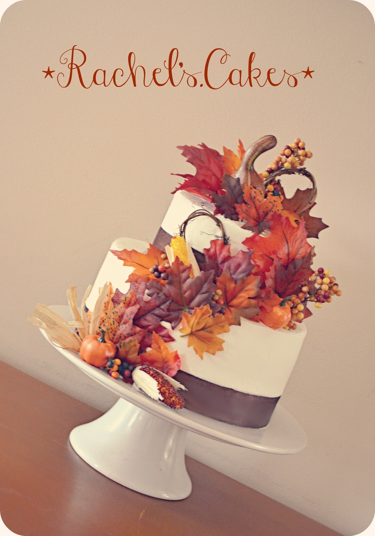 Fall Wedding Cake Very Simple 2 Teirs Ribbon But Enough Fall Decor To Be Cute Add In A
