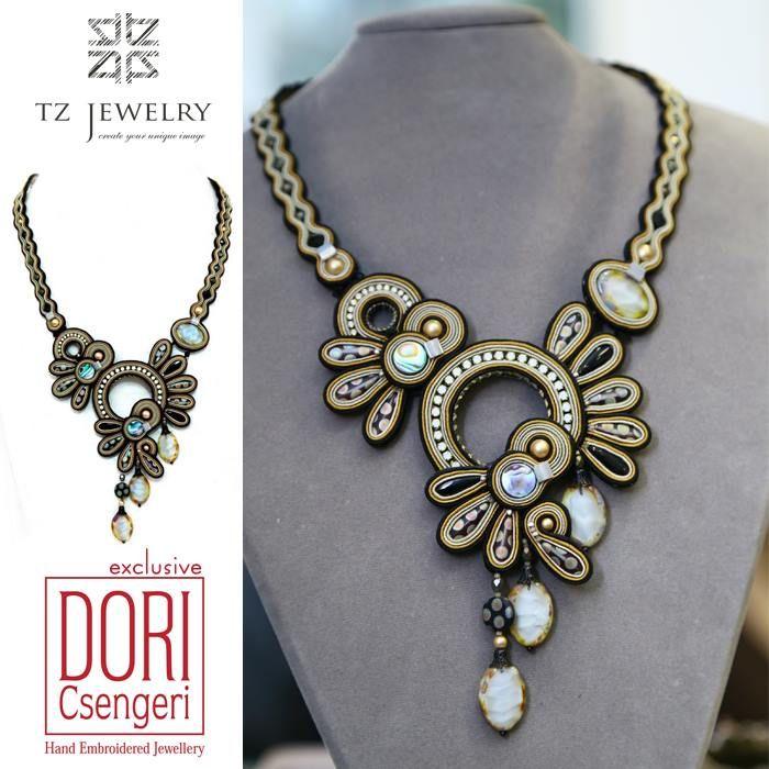 Unique Necklace from Dori Csengeri #DoriCsengeri #soutache #exclusive #jewelry #TZjewelry #unique #necklace