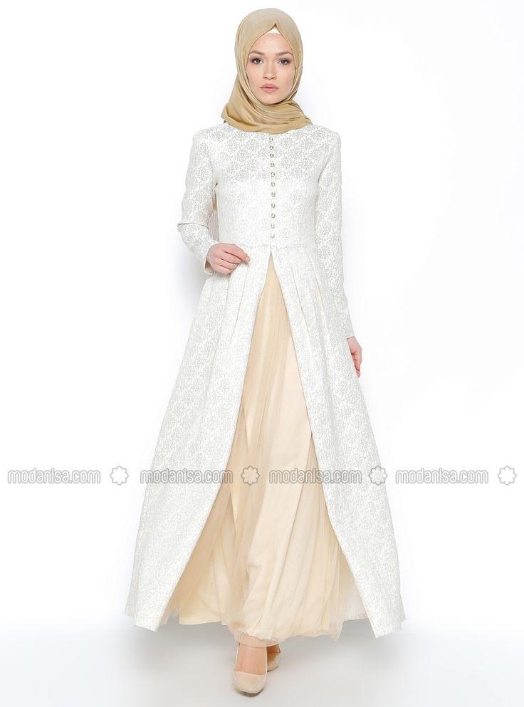Jakarlı Abiye Elbise - Ekru - N.K. Collection