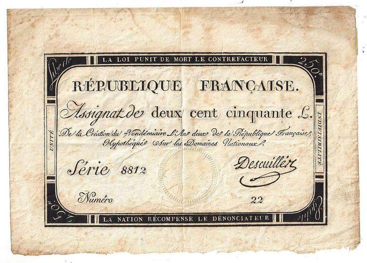 Republique Francaise Assignat 250 Livres Note Serie 8812 Numero 22  | eBay