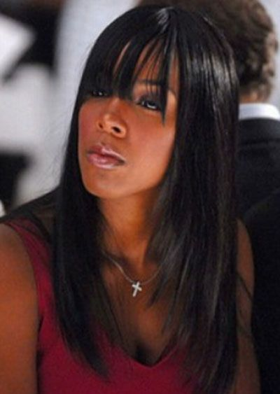 straight hair with side swept bangs Trendy Look of Long Straight Hairstyles for Black Women in 2013