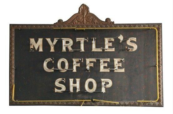 Vintage Coffee Shop Sign: Neon Boneyard by laurel