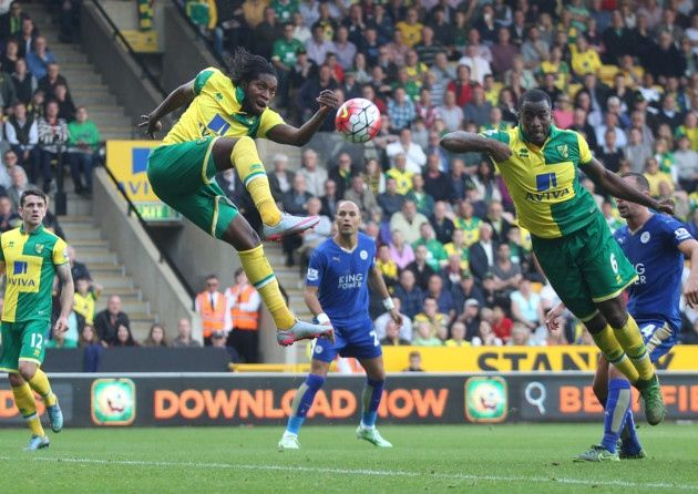 Dieumerci Mbokani scored his first Norwich City goal in a Canaries home loss to Leicester City.