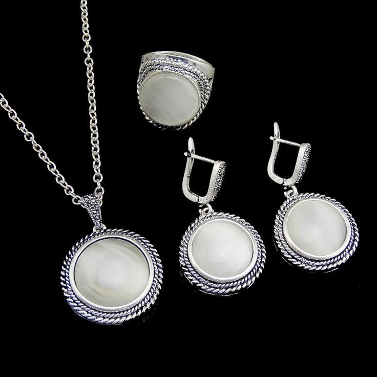 Мода ювелирные изделия круглый ожерелье комплект старинные серебряные белый опал природный камень ювелирные комплект для женщинкупить в магазине yiwufactory jewelry wholesaleнаAliExpress