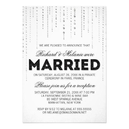 glitter look wedding reception only invitation | wedding, Wedding invitations