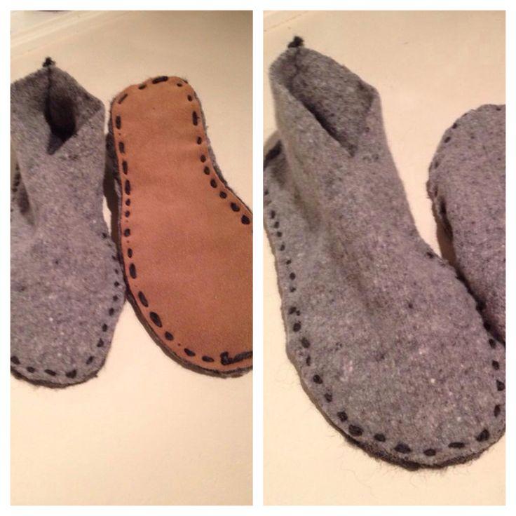 Shrinked wool sweater. *linnkira. Hjemmelaga tøfler av godt vaska ulllgensere og innkjøpte såler.