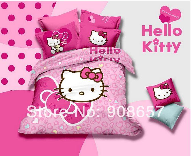 Розовый пурпурный в форме сердца в форме hello kitty принт постельные принадлежности хлопок девочки одеяло одеяло пуховое одеяло крышки комплект кровать постельное белье 4 - 5 пк