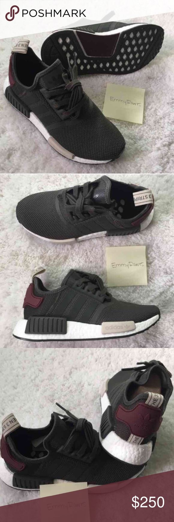 LAST • New Adidas NMD R1 Utility Grey SIZE 6.5 NO TRADES•••• runs half a size bigger unless you have wide feet!! ••• New Women Adidas NMD. Featherweight sneakers with the adidas boost cushioning. Upper is made of suede and neoprene which makes these. Also have EVA foam plugs which provides more comfort for the underfoot. Have the classic 3 stripes.  Colorway : Utility Grey.   #adidas #NMD #boost #women #yeezy White talc cream salmon pink Adidas Shoes Sneakers