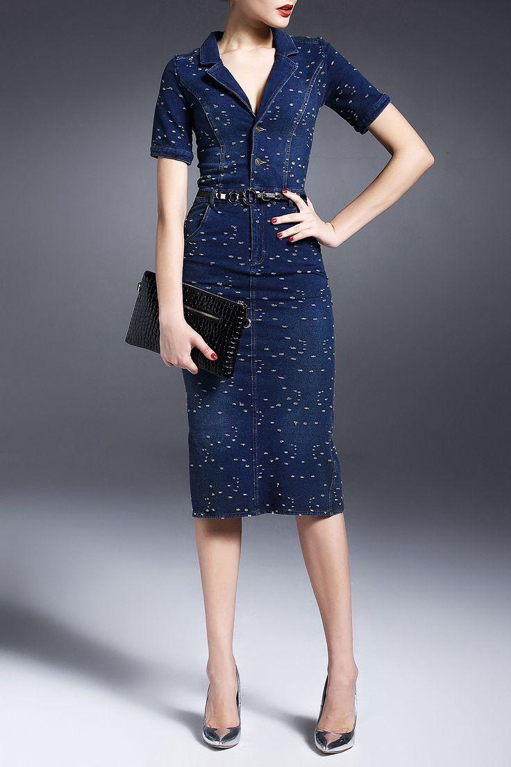Nordicwinds Deep Blue Ripped Back Slit Belted Denim Dress | Midi Dresses at DEZZAL