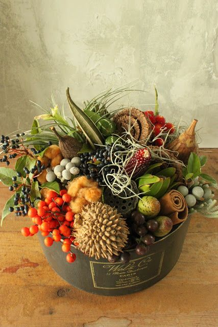 Love the textures and colors of fall in this arrangement.