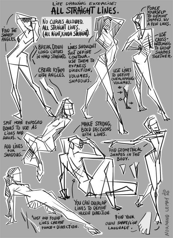 Tuesday Tips - Life Drawing Exercise: All Straight Lines  Without proper instructions or guidelines, life drawing sessions can easily become boring and repetitive, with little to no progress in understanding the process. Once in a while, I try to apply some techniques learned along the way. This is one of them. The last time I applied the technique was through instructor Paul Wee at LAAFA. A great life drawing teacher from the world of animation.