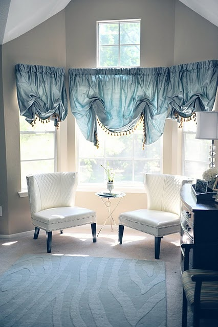 Bay window drapes can help spice up those odd spaces in your home. This one is really unique !   Call Budget Blinds of Tallahassee, today ! (850) 668-4835