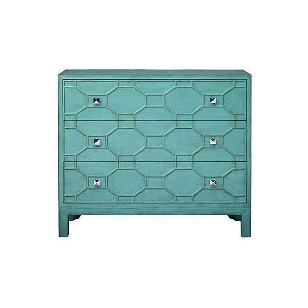 Tamara Accent Chest ❤ liked on Polyvore featuring home, furniture, storage & shelves, dressers, colored furniture, teal furniture and colored dressers