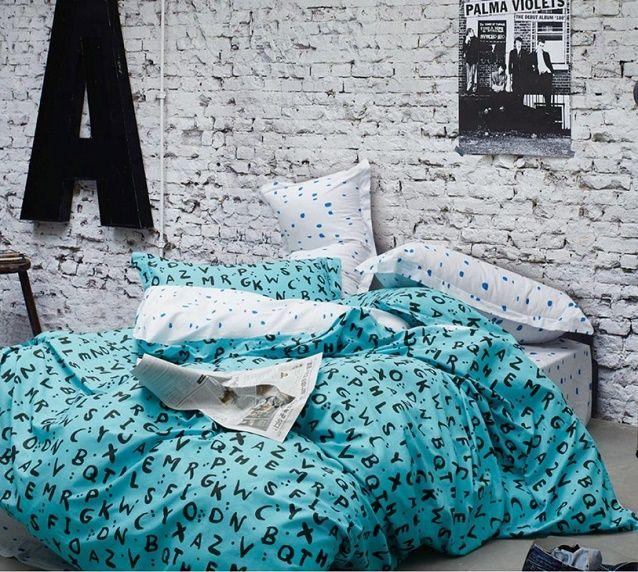 Posciel 200x220 Satyna Bawelniana Turkus Literki Bed Comforters Blanket