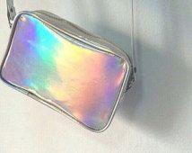 Silber Holographic Kreuz Leichensack Hologramm Handtasche Tasche Messenger Tasche Party Reisen Umhängetasche