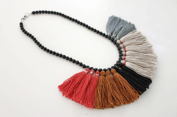 Tassel Necklace hot pink highlight, Statement Necklace, Bib Necklace, Color Block Necklace - Madi Jane Accessories