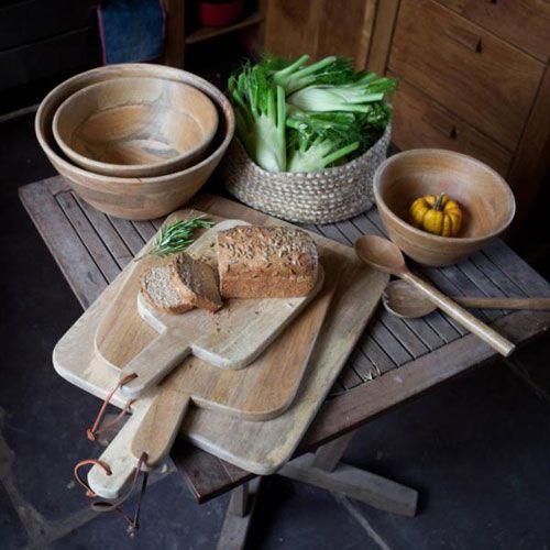 Planche à découper en manguier 3 tailles avec lien de cuir Niju Nkuku : Decoclico