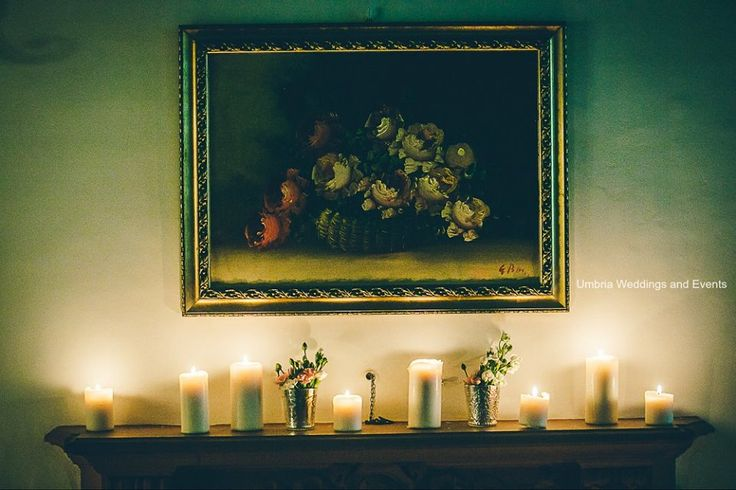 Medieval walls , frescoed ceilings, candles,winter wedding,Umbria Italy