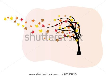 Decorative vector tree silhouette in autumn with colorful leaves and wind