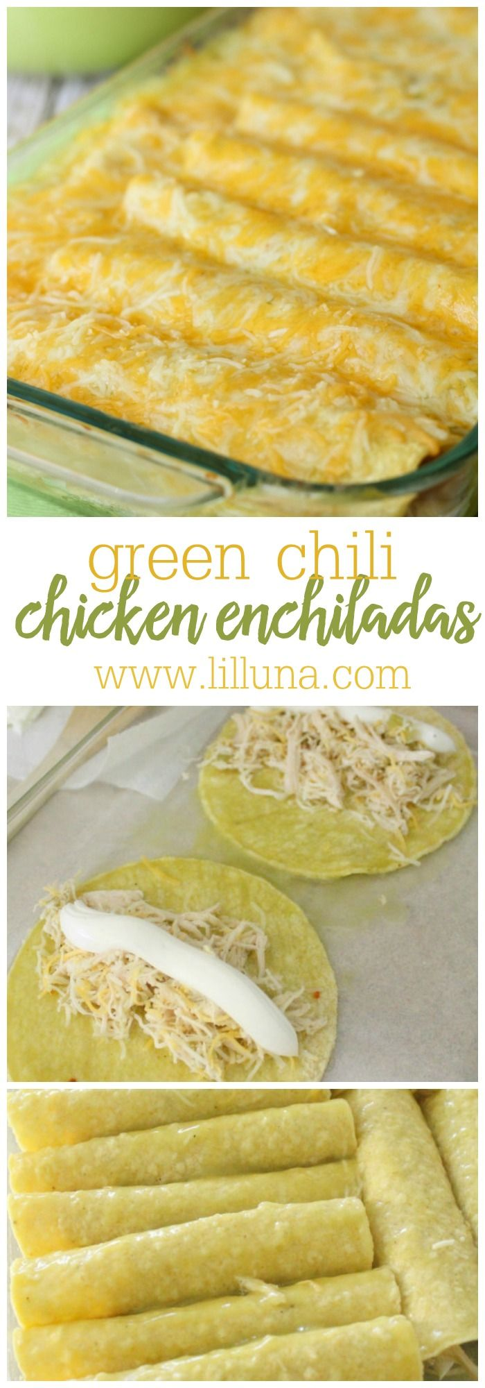 Las Palmas Chicken Enchiladas – such an easy and delicious recipe! Includes shredded chicken, green chili, sour cream, and cheese