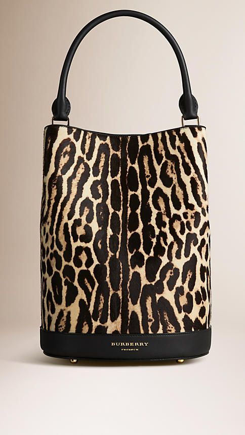 Natural The Bucket Bag in Animal Print Calfskin - Image 1