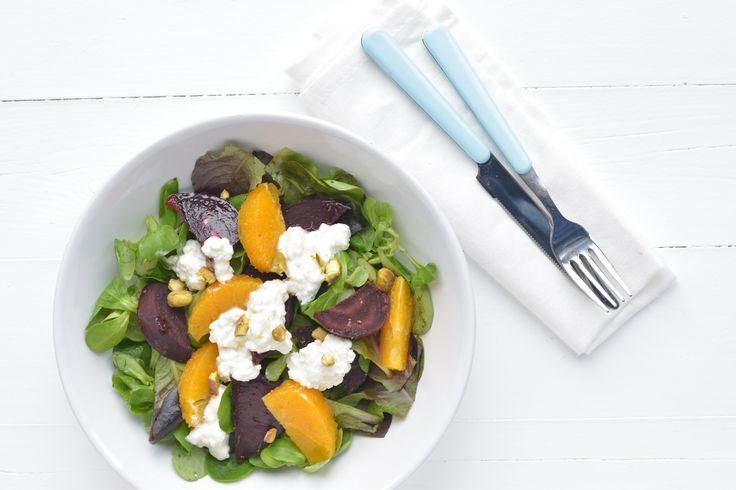 Recept:  Salade met bietjes en Hüttenkäse