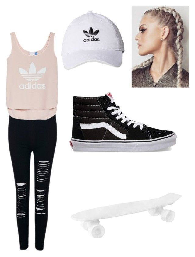 """Skater girl"" by gmusc6 on Polyvore featuring WithChic, adidas, Vans and Seletti"