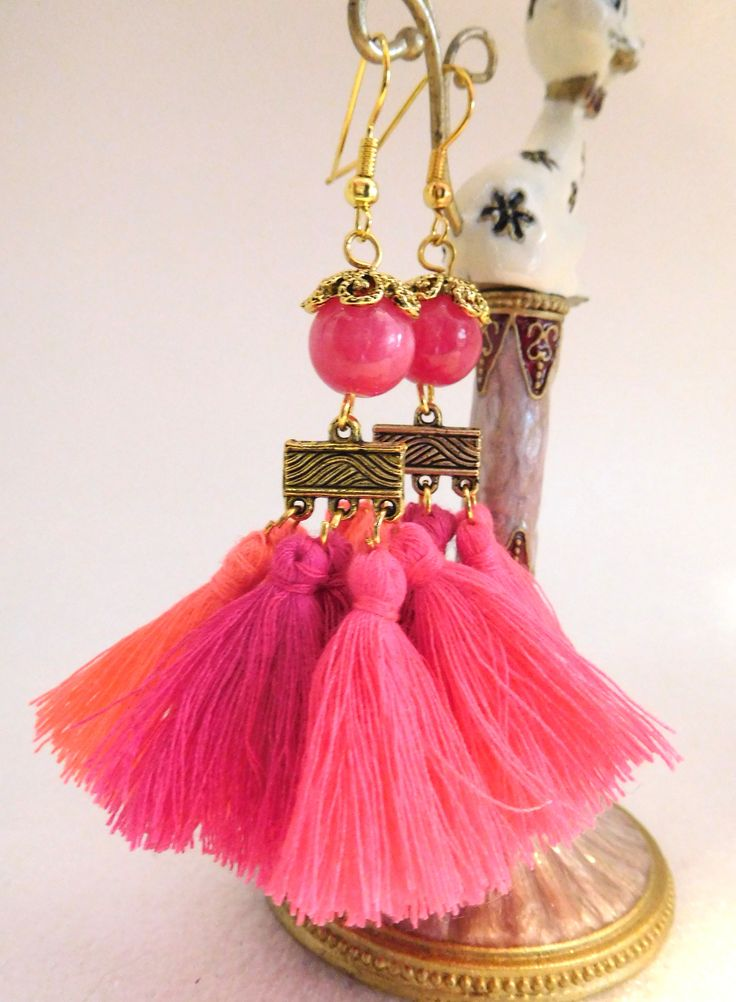 Boho Tassell Earrings in striking pinks, genuine Rhodochrosite Gemstone, gold plated ear wires