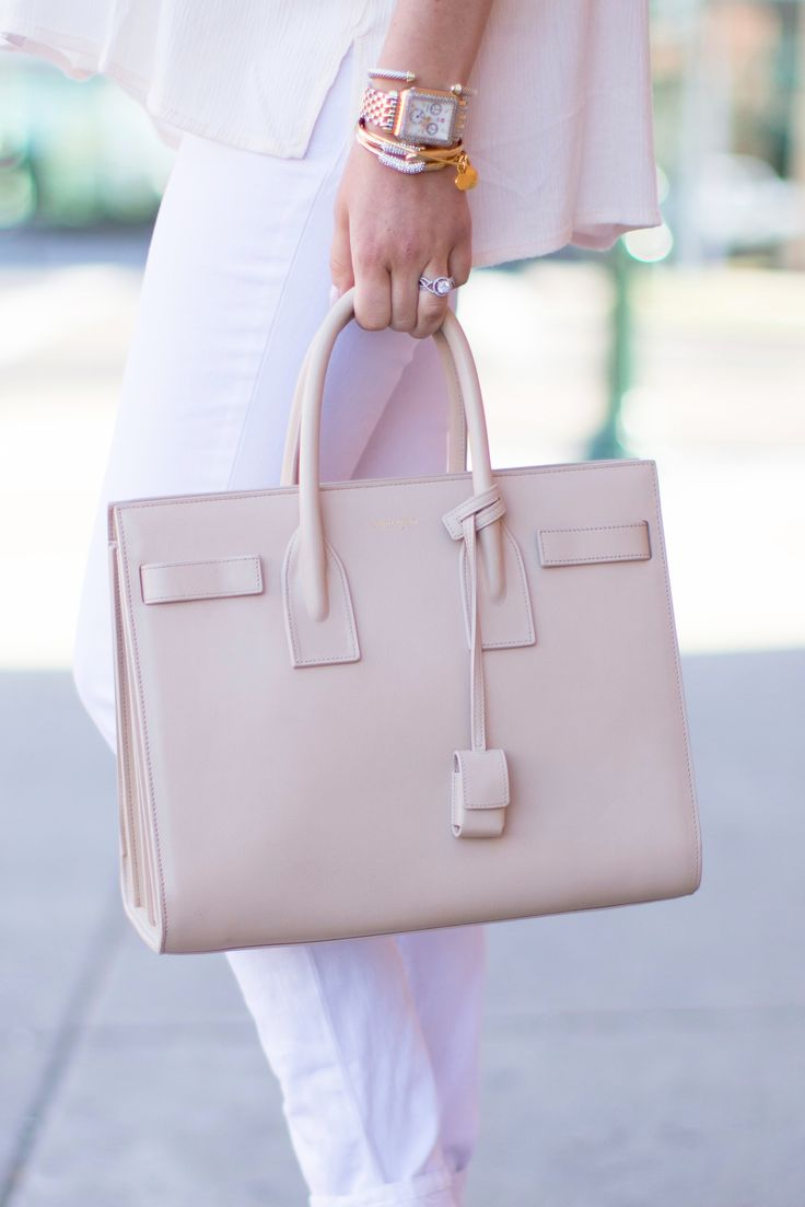Subdued neutral outfit perfect for pairing with that Saint Laurent handbag. #bloggers #outfit #bags: