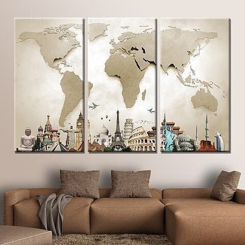 """3,066 Me gusta, 11 comentarios - P.roduct (@p.roduct) en Instagram: """"This Modern HD 3 Piece Canvas World Map Is Amazing 😍  Our friends at @babyfamilyhome is giving Away…"""""""