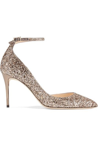 Jimmy Choo - Lucy Glittered Leather Pumps - Gold - IT39.5