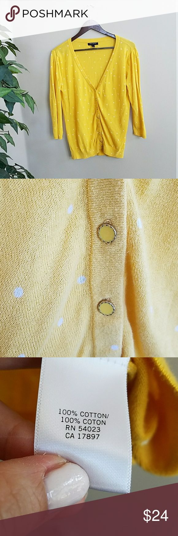 {Banana Republic Factory} Polka-Dot Cardigan Such a cute cardi for summer! Very lightweight and breezy. Lemon yellow w/ white dots. 3/4 sleeves. Cute fancy buttons. :-)  ** See pics for measurements | Offers welcome! | 20% off all bundles | NO TRADES | NO MODELING ** Banana Republic Sweaters Cardigans